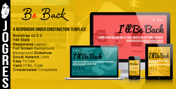 Responsive Under Construction Theme Bootstrap