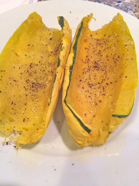 delicata squash with butter, salt and pepper