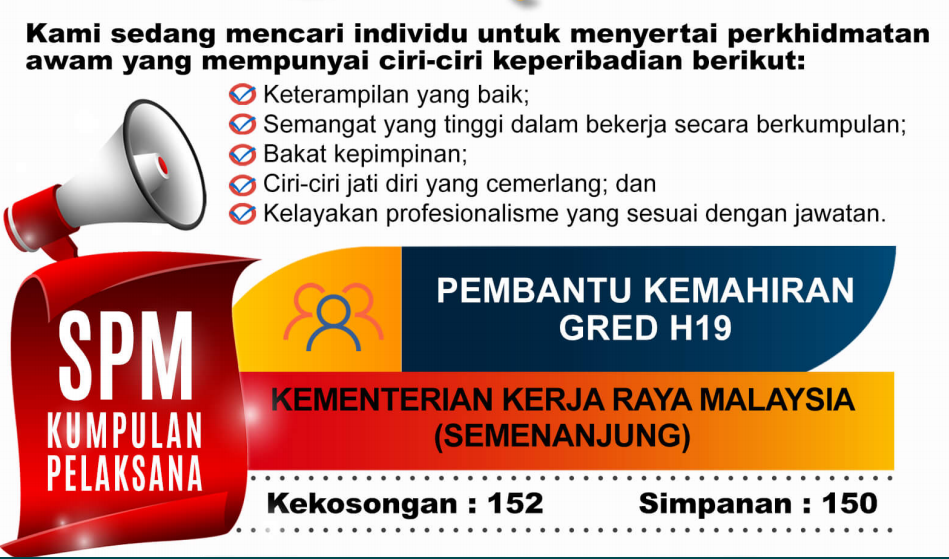 Jawatan Kosong Pembantu Kemahiran Gred H19 di Kementerian Kerja Raya (KKR)
