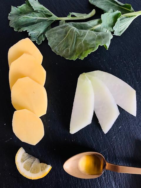 Zitronen-Kartoffel-Kohlrabi-Suppe mit Kohlrabi-Chips, Rezept, glutenfrei, vegan, Franz & Co, Olivenöl, Suppenrezept