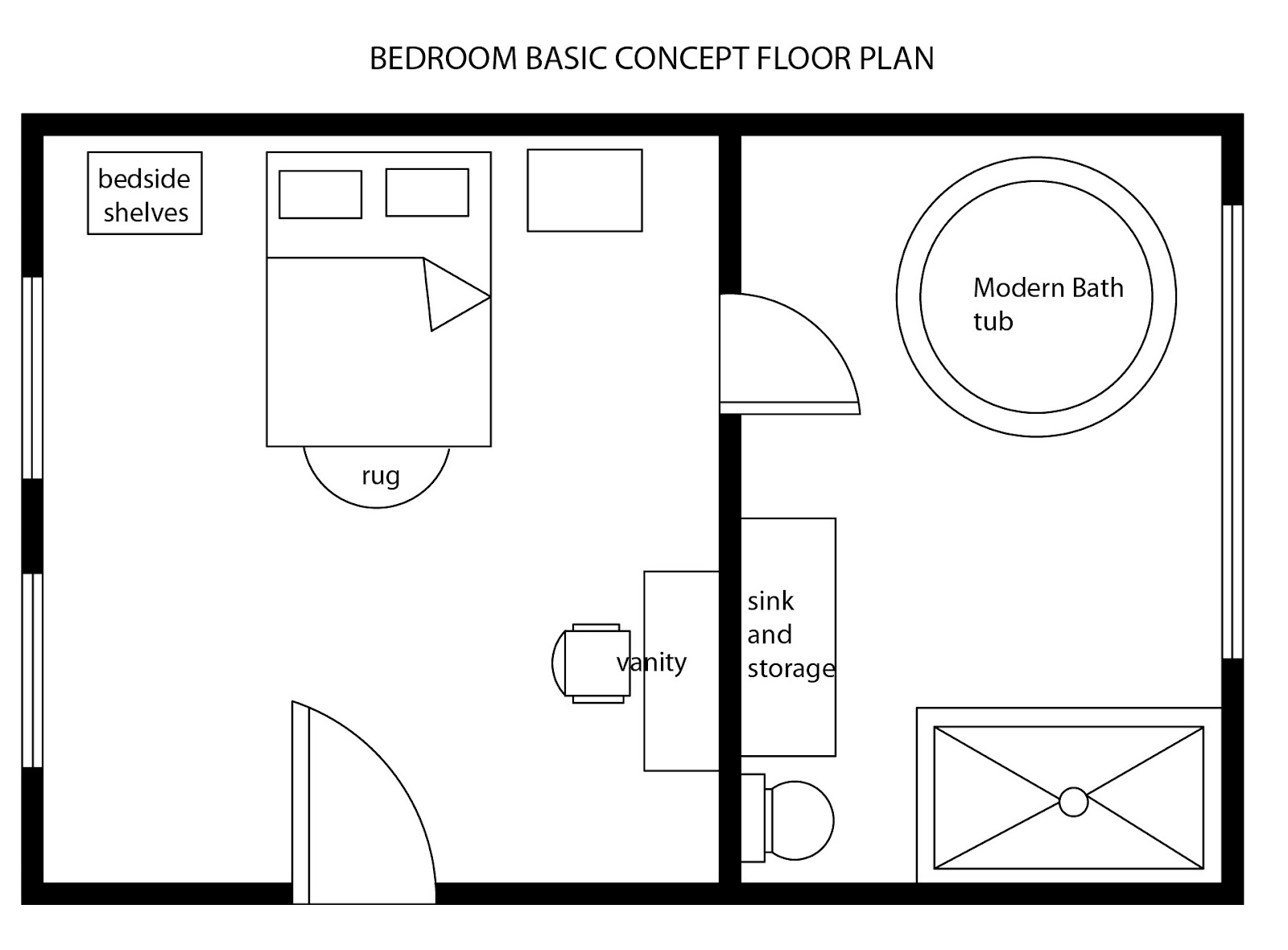 Interior design decor modern bedroom basic floor plan for Simple one room house plans