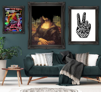 A living room scene with a black sofa with grey and white cushions, hanging on the wall behind are three pictures from the Ink and Drop range, one has an image of the Mona Lise with the face obscured with black dripping paint.