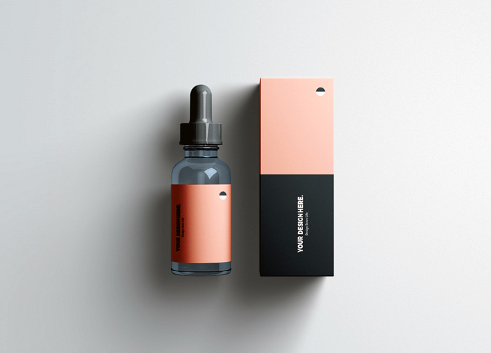 Pipette Bottle With Box Mockup Front View