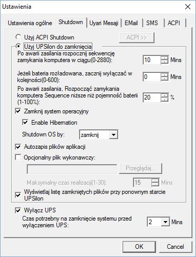 Opcje zamykania w programie UPSilon 2000