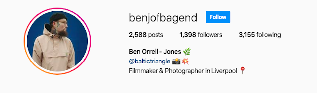 Instagram header of @benjofbagend