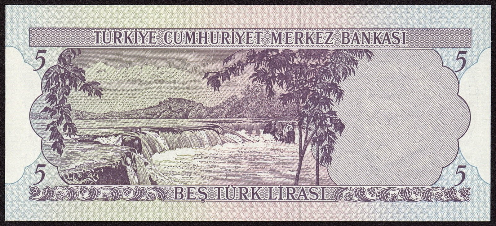 "Turkey currency money 5 Türk Lirasi ""Turkish Lira"" note 1970 Manavgat Waterfall in Antalya"