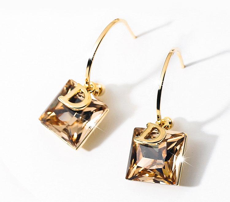 閃耀 D香檳金水晶耳環