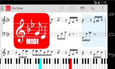 تطبيق هاتفي midi score عند العزف يكتب النوتة