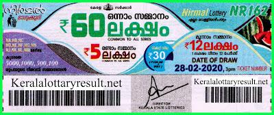 Kerala Lottery Result 28-02-2020 Nirmal NR-162 Lottery Result