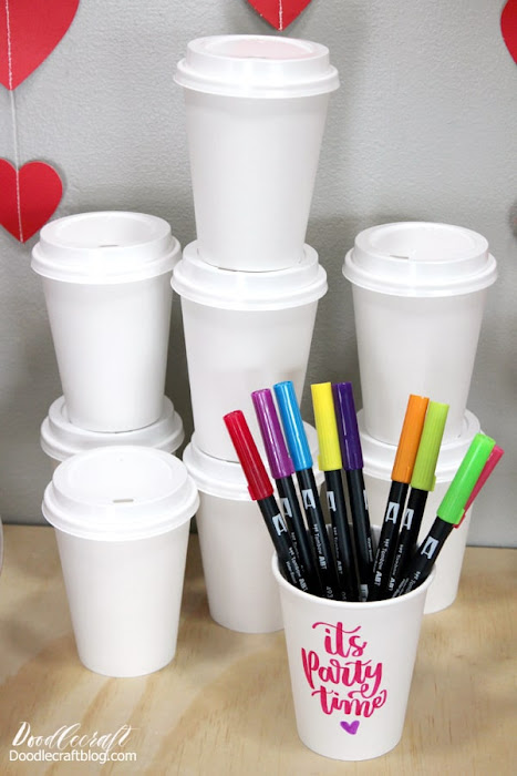 Decorate paper cups with Tombow dual brush pens in bright colors for a fun ladies crafternoon, craft night, book club, Galentine's party or just for fun!