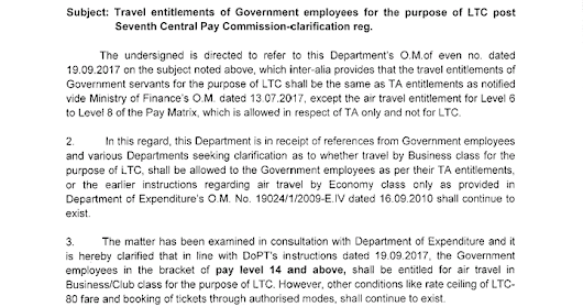 Travel entitlements of Government employees for the purpose of LTC post Seventh Central Pay Commission - clarification reg : DoPT