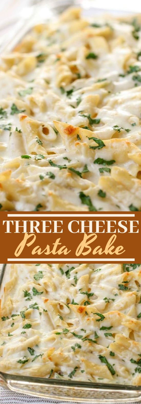 Three Cheese Pasta Bake #dinner #pasta