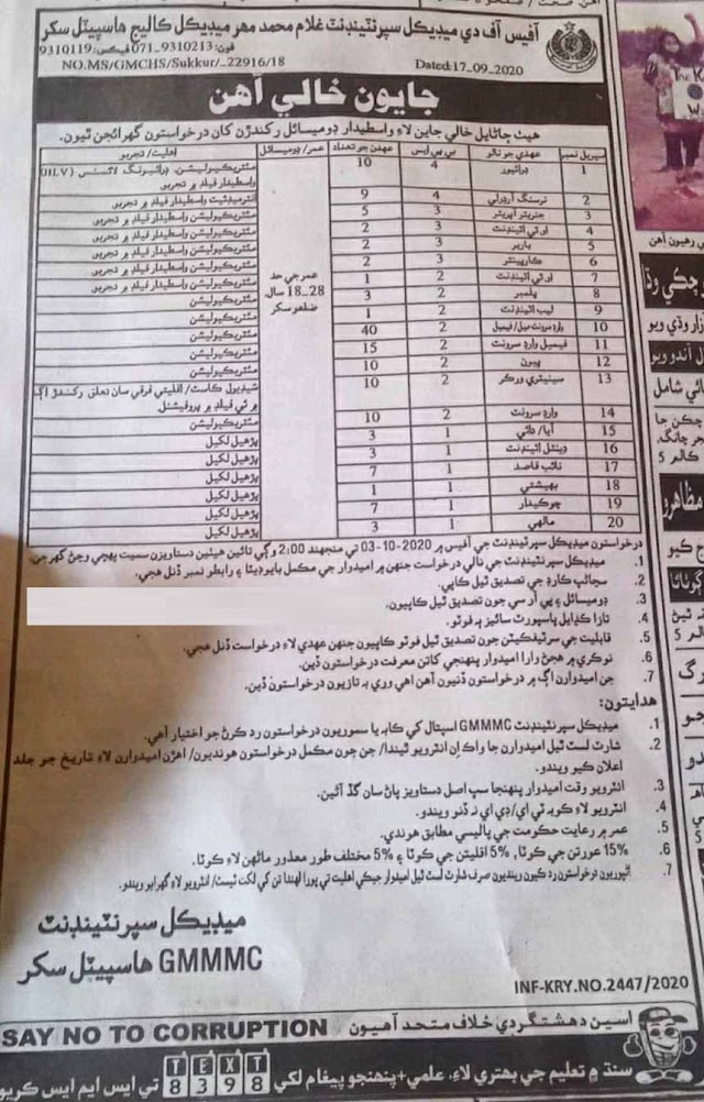 Latest 140+ seats in Mahar Medical College Jobs 2020