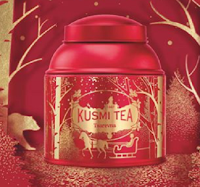 Logo Kusmi Tea : vinci gratis tè di Natale Tsarevna e una pallina di zucchero