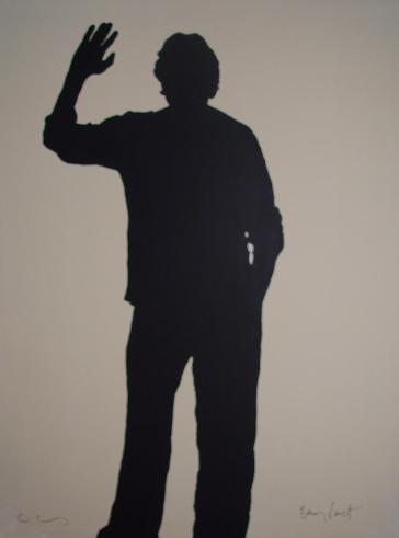 Bernar Venet's shadow - 2006.. Acrylic on canvas 78 ¾ X 59 1/8 in. Signed by Klaus Guingand and Bernar Venet.