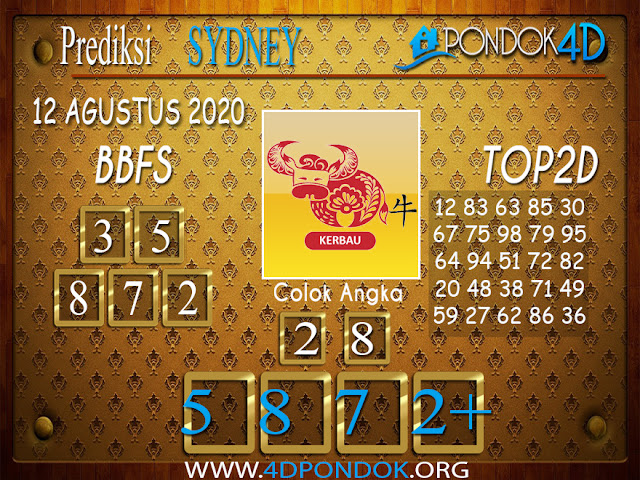 Prediksi Togel SYDNEY PONDOK4D 12 AGUSTUS 2020