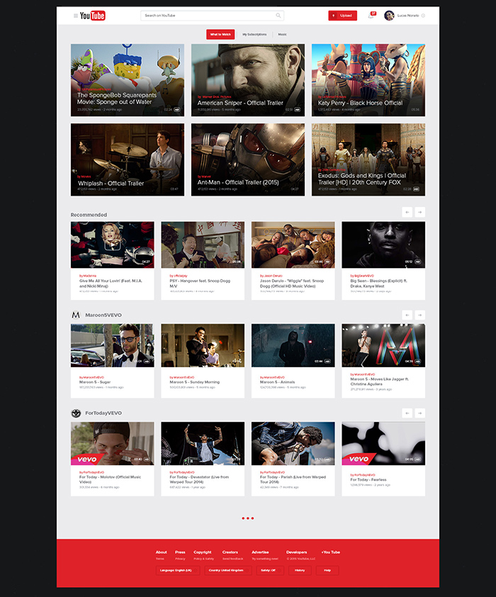 Youtube Website Design
