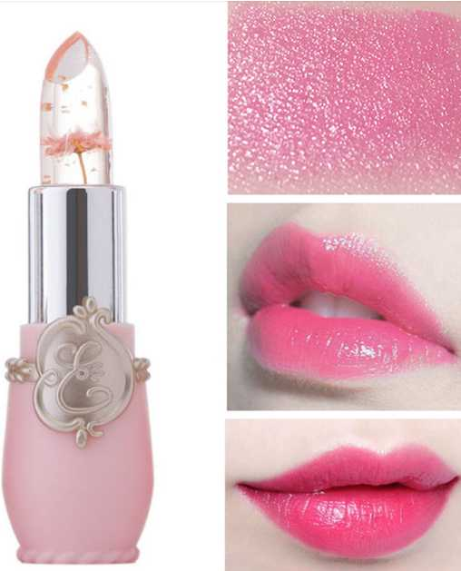 lips balm natural Crystal Flower Jelly Lipstick Transparent Lip Balm Long Lasting