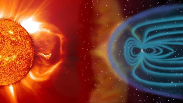Ilustração artística do impacto de uma ejeção de massa coronal na magnetosfera da Terra - NASA - Steel Hill