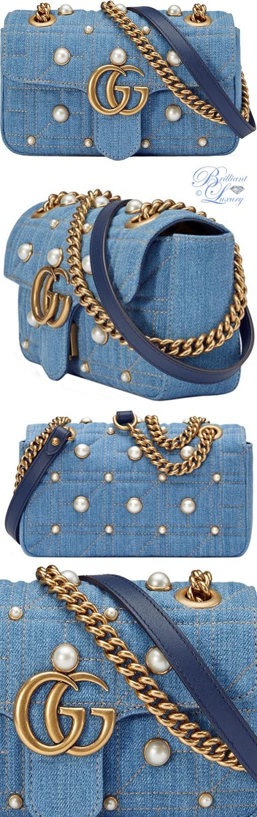Brilliant Luxury ♦ Gucci GG Marmont denim shoulder bag