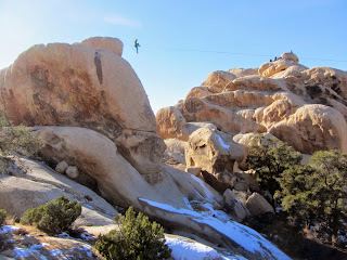 Rock climbers near Ryan Mountain trailhead, Joshua Tree National Park