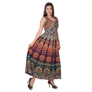 Designer Cotton Women's Maxi Long Dress Jaipuri Printed with Atteched Jacket
