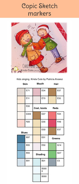 Copic color combination kids singing digital stamp