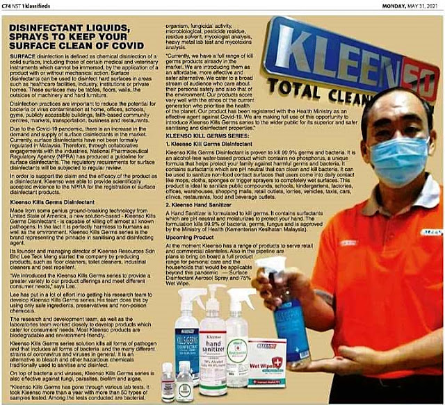 KLEENSO Kills Germs Disinfectant Gets National Pharmaceutical Regulatory Agency (NPRA) Approval & Certification