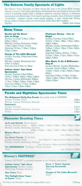 Back Times Guide Disney MGM Studios December 5-11 2004