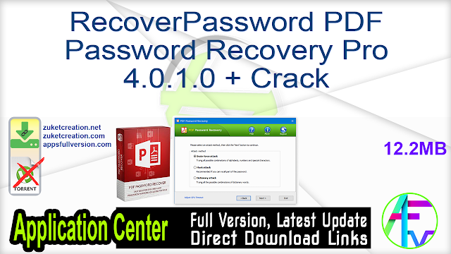 RecoverPassword PDF Password Recovery Pro 4.0.1.0 + Crack
