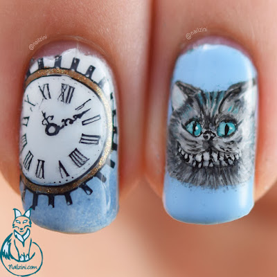 Alice Through The Looking Glass - Cheshire Cat Nail Art Nailzini
