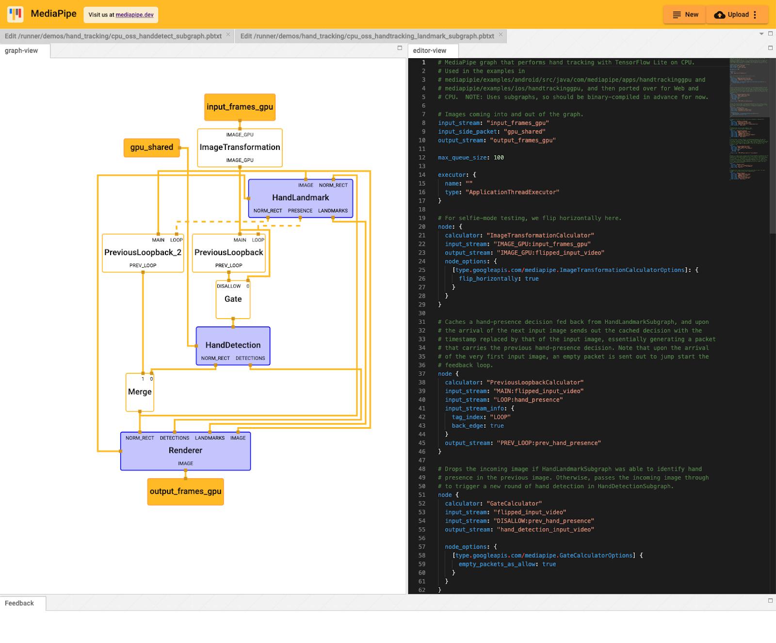 MediaPipe Visualizer hosted at https://viz.mediapipe.dev