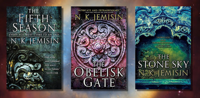 Book covers for the Broken Earth Trilogy by N.K. Jemisin