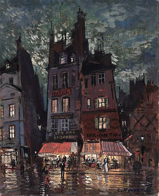 a Konstantin Korovin painting of a tavern at night under moonlight