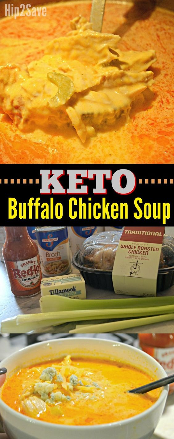 Keto Buffalo Chicken Soup #soup #dinner #glutenfree
