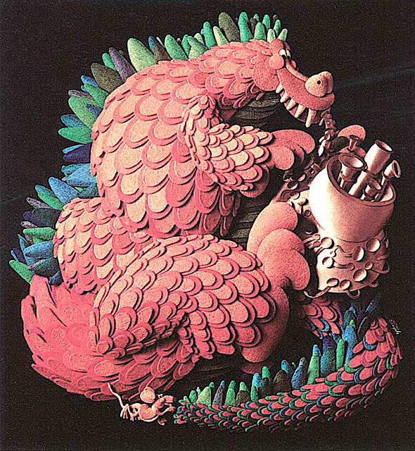 a Raymond Ameijide papercut children's illustration of a dragon