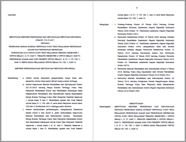 Kepmendikbud Nomor 173 Tentang Harga Eceran Tertinggi Buku Teks Pelajaran Pendidikan Dasar dan Pendidikan Menengah