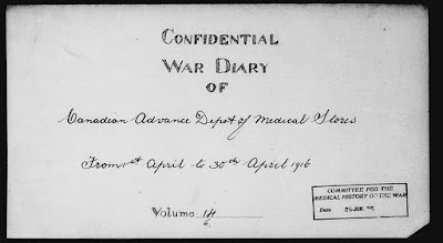 War Diary of The Canadian Advance Depot of Medical Stores.