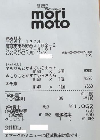 もりもと 恵み野店 2020/3/2 テイクアウトのレシート