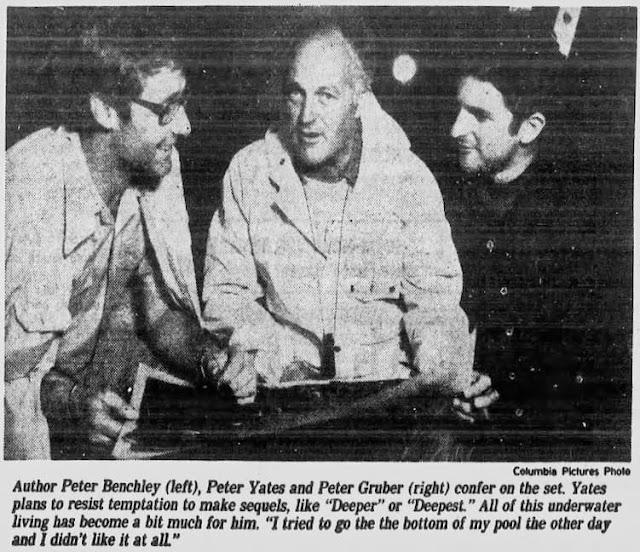 Peter Benchley, Peter Yates, Peter Guber, on set