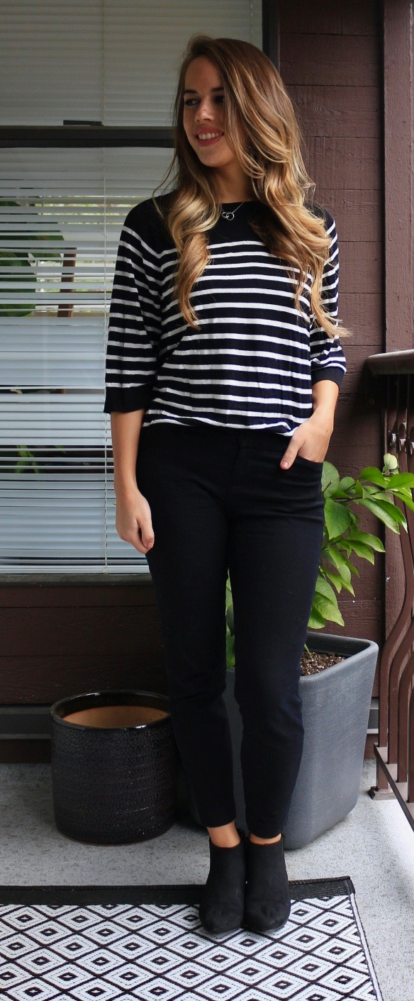 Jules in Flats - Striped Sweater, Ankle Pants & Booties Work Outfit