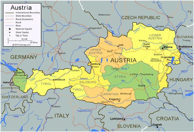 Gambar Peta wilayah negara Austria