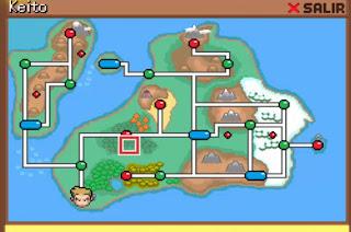 Pokemon El Eslabon Perdido para Android Mapa Region de Keito