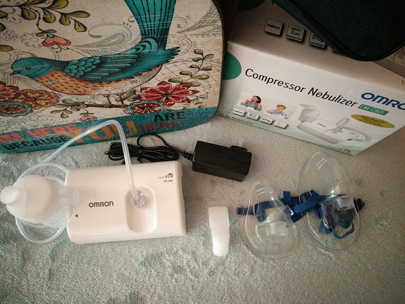 Omron Ne C801 Compact Air Nebulizer Review The Super Momma C28 Contents Of Kit