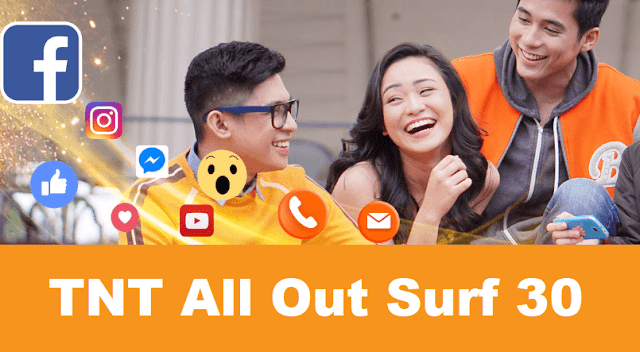 TNT All Out Surf 30 :300MB Mobile Data + Free FB, 30-min Tri-Net Calls and Unli All-Net Texts
