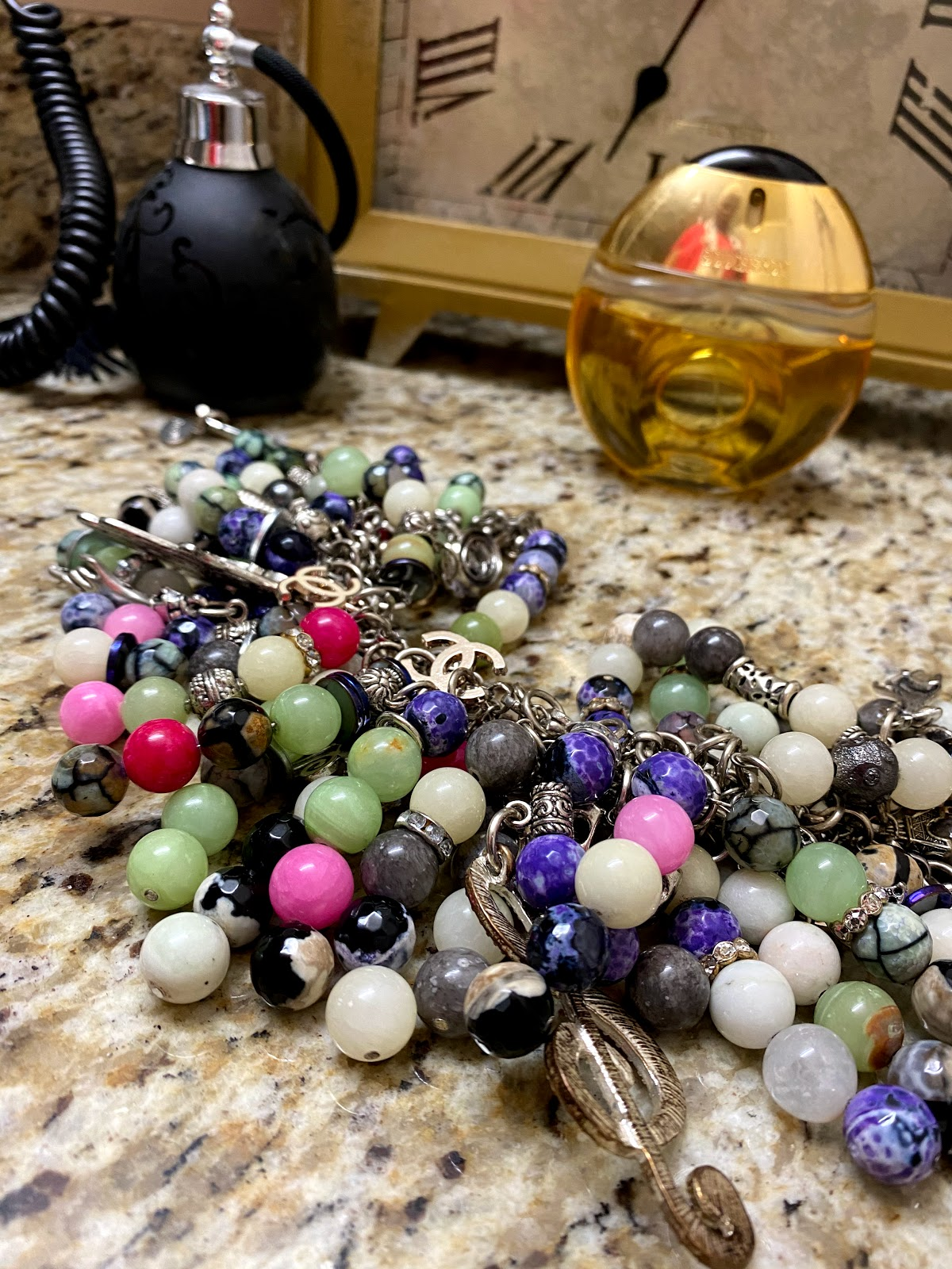 Broken necklace turned into arm candy bracelets by Tangie Bell.Hobby Bits: Oh Hey Girl, Let's Get Frugal And Make Some Junk!