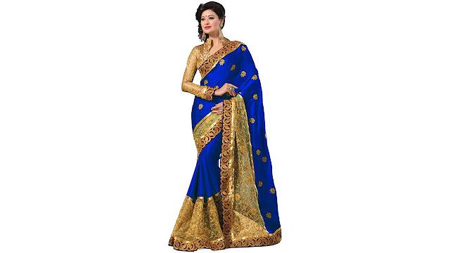 M.S.Retail Self Design Fashion Satin, Net Saree  (Blue, Gold)