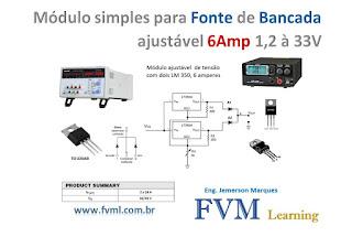Módulo simples para fonte de bancada ajustável 6Amp 1,25 à 33V