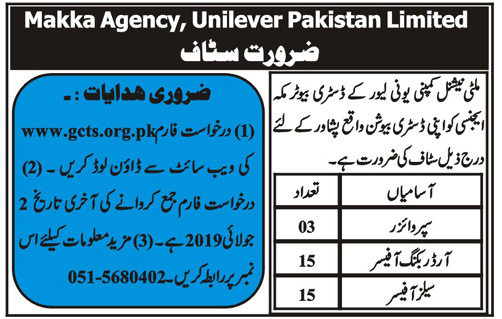 Multinational Company required Staff in Peshawar