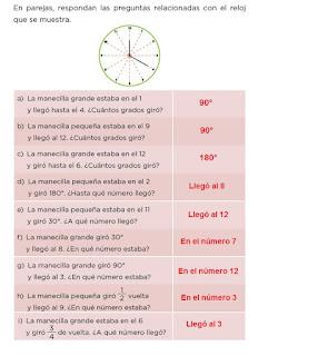 Respuestas Apoyo Primaria Desafíos Matemáticos 4to. Grado Bloque II Lección 40 Dale vueltas al reloj
